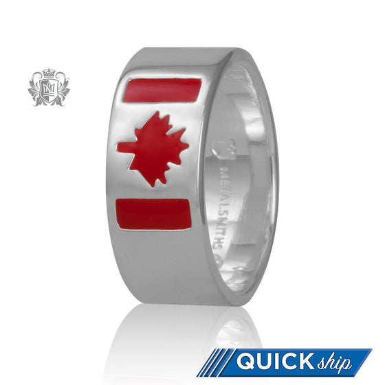 Quick Ship Canadian Flag Ring (His) - Metalsmiths Sterling䋢 Canada