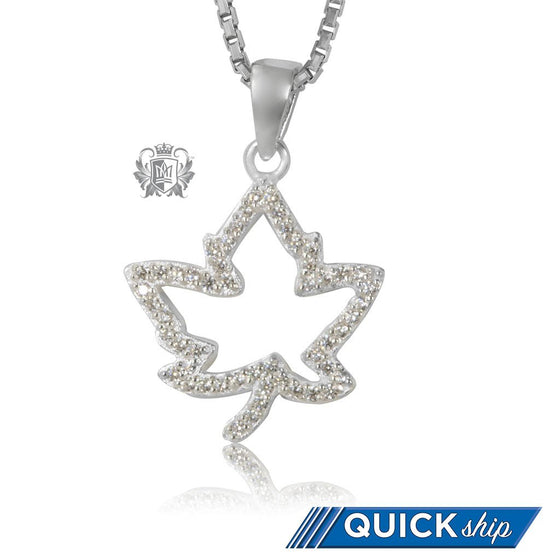 Quick Ship Metalsmiths Sterling Silver Sparkling Maple Leaf Pendant
