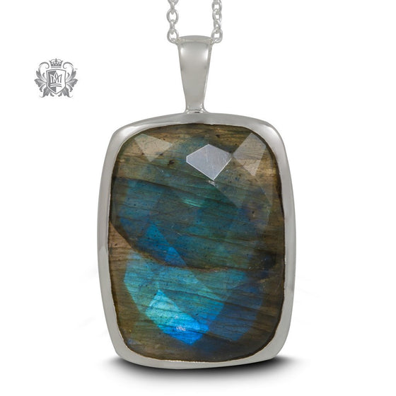 Checker Cut Labradorite Sterling Silver Pendant