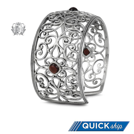 Ornate Bangle with Garnets - Metalsmiths Sterling™ Canada