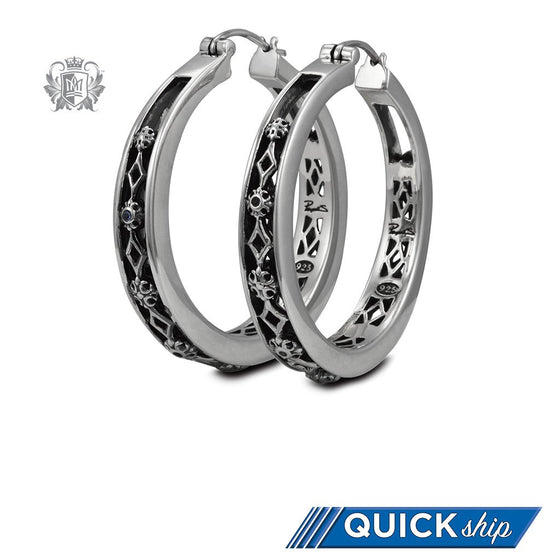 Large Parisian Hoops with Sapphire Accents - Metalsmiths Sterling™ Canada