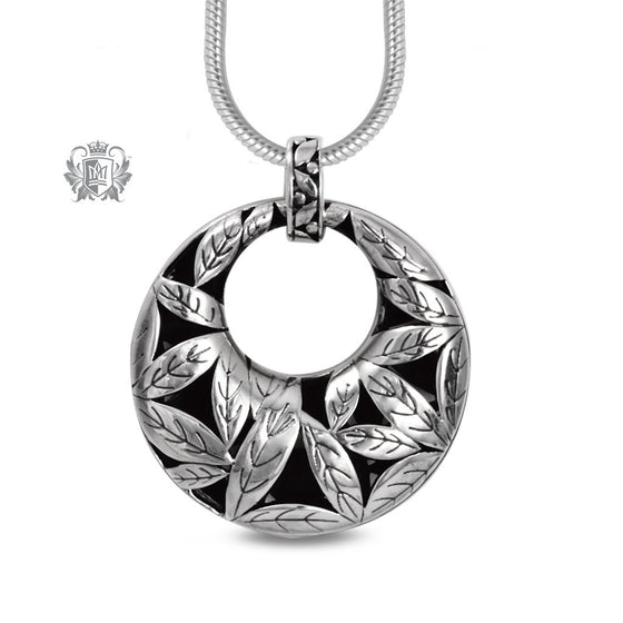 Large Leafy Round Pendant Sterling Silver