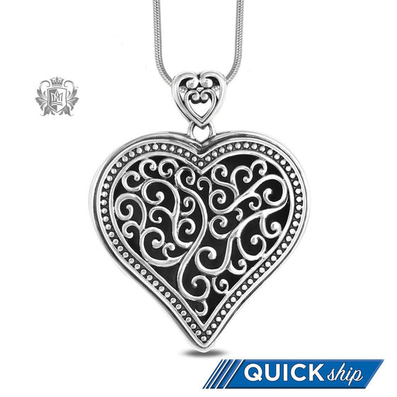 Large Tapered Heart Pendant Sterling Silver Quick Ship