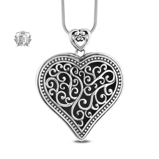 Large Tapered Heart Pendant Sterling Silver