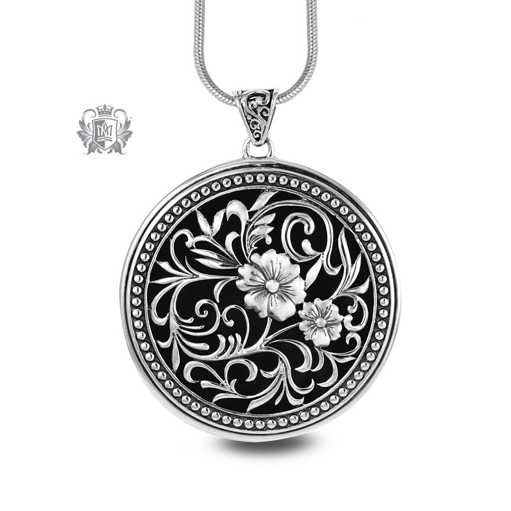 Large Round Floral Medallion Sterling Silver