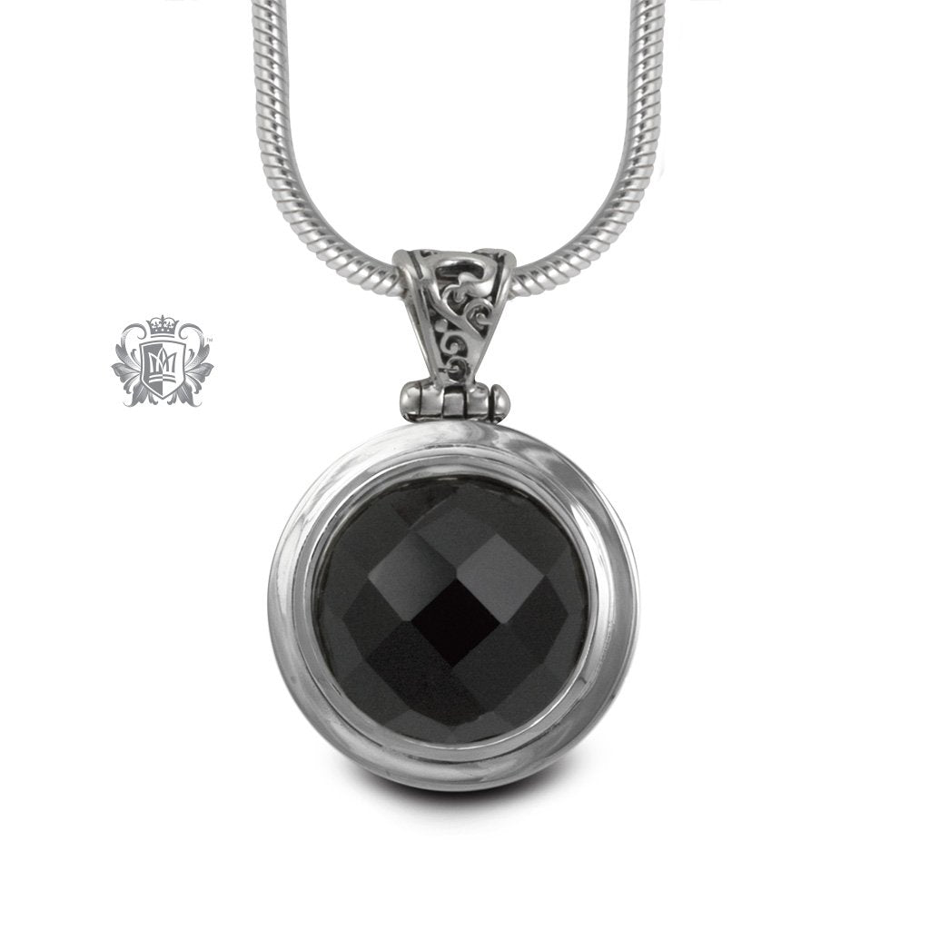 Black Onyx Large Checker Cut Pendant Sterling Silver
