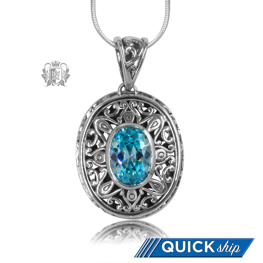Blue Topaz Cubic Oval Gemstone Pendant Sterling Silver Quick Ship