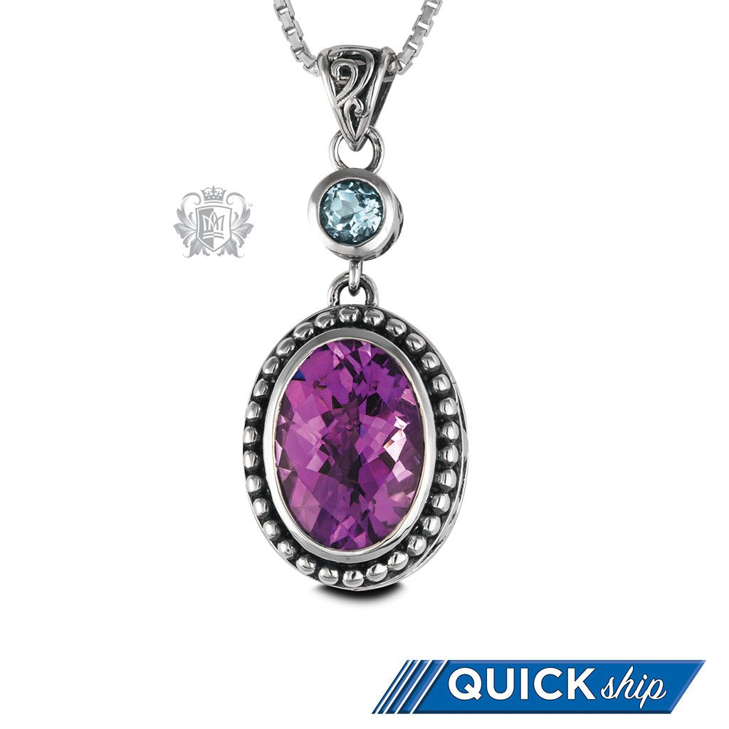 Blue Topaz & Amethyst Oval Panos Konidas Pendant Sterling Silver Quick Ship