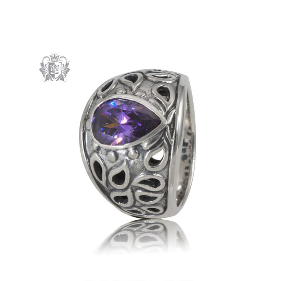 Amethyst Cubic Pear Shaped Ring