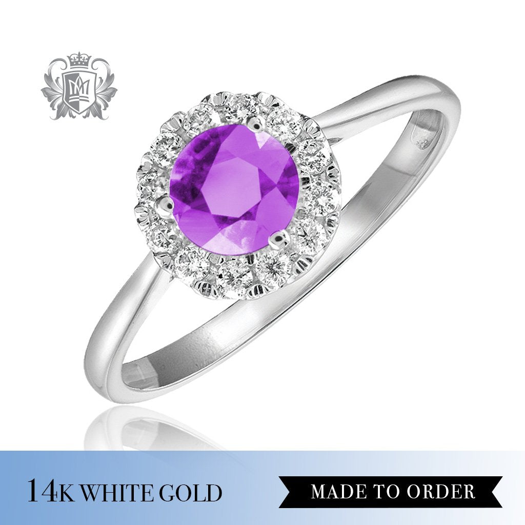 Amethyst & Diamond Cocktail Ring 14K Made to order