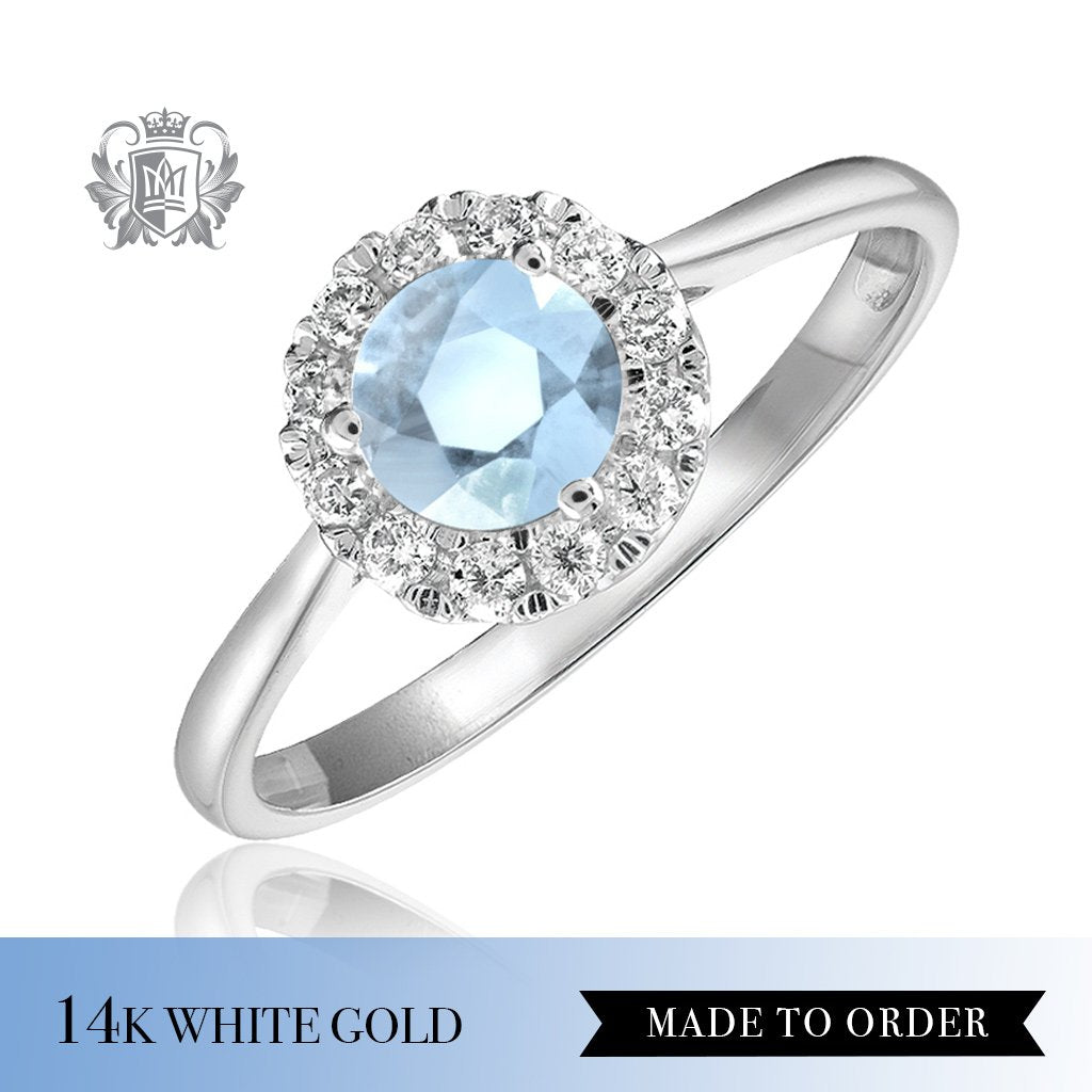 Aquamarine & Diamond Cocktail Ring 14K Made to order
