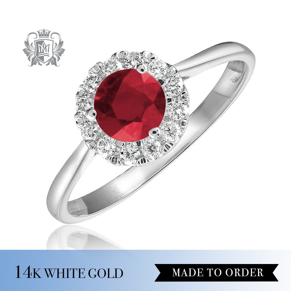 Ruby & Diamond Cocktail Ring 14K Made to order