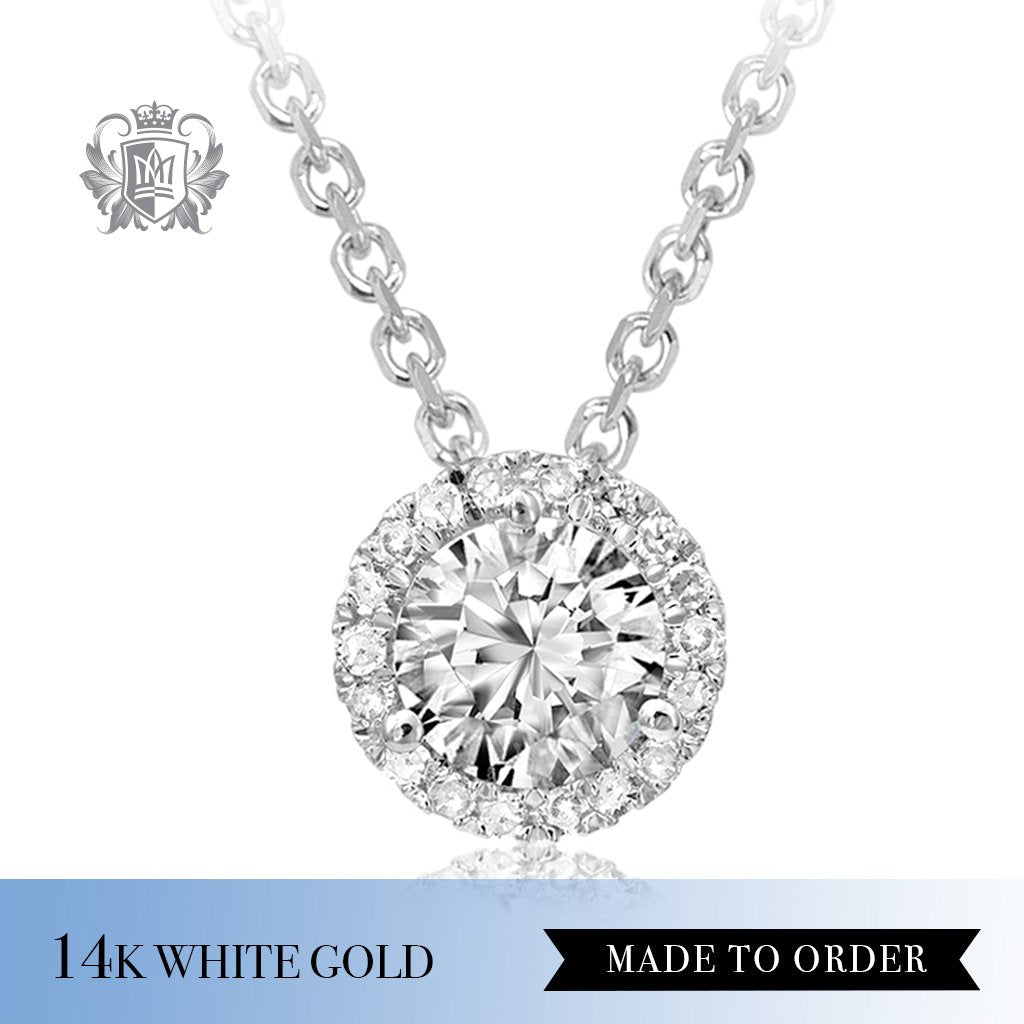 0.10 Ct Diamond Round Halo 14K White Gold Pendant Made to order