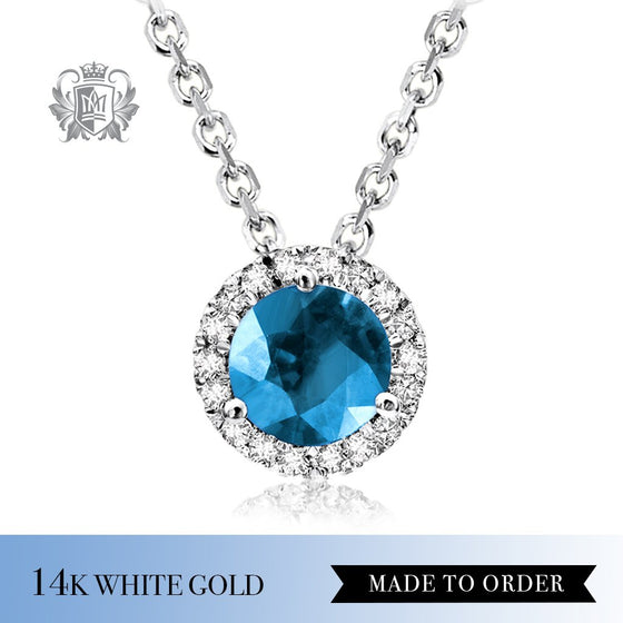 Blue Topaz & Diamond Pendant Made to Order