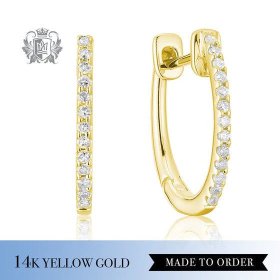 Diamond Huggie Earrings 14k Yellow Gold Made to order