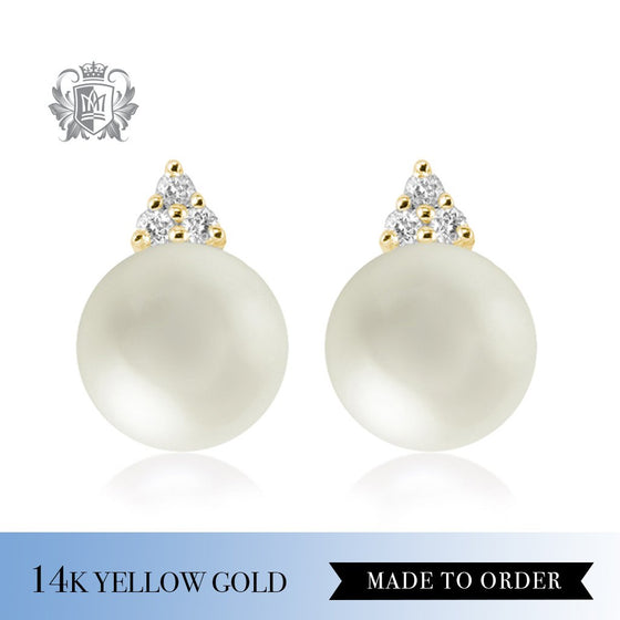 Diamond & White Pearl 14K Yellow Gold Stud Earrings Made to Order
