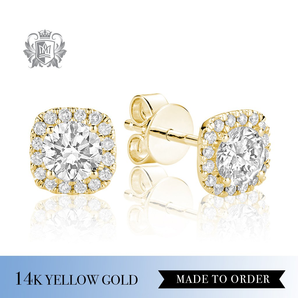 0.35 CT 14Kt Yellow Gold Diamond Halo Earrings Made to order