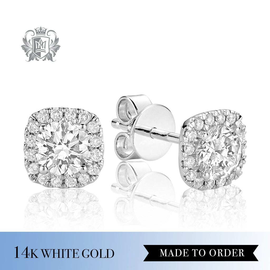 0.35 CT 14Kt White Gold Diamond Halo Earrings Made to order