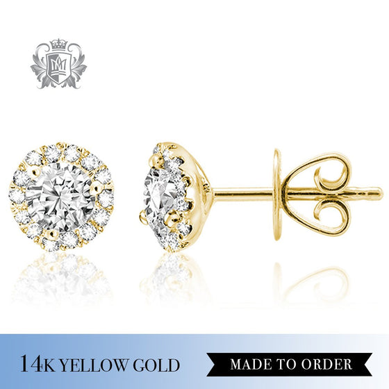 Round Diamond Halo Stud Earrings 14k Yellow gold made to order