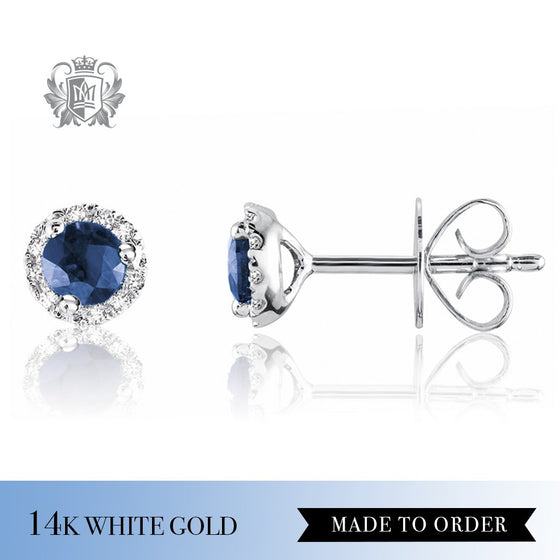Sapphire & Diamond Stud Earrings 14K Made to Order