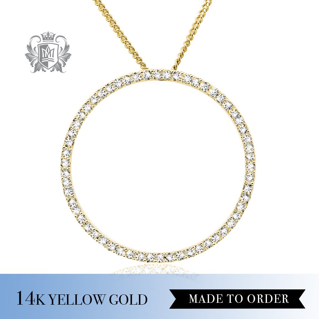 Diamond Forever Circle Pendant 14K yellow Gold made to order