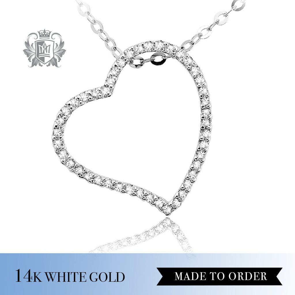 Diamond Open Heart Pendant 14k white gold made to order