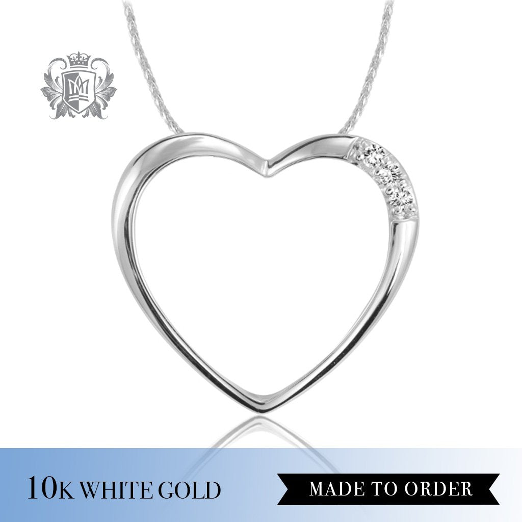 Diamond Classic Open Heart Pendant 10K White Gold Made to Order