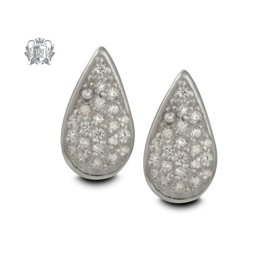 Pave Cubic Drop Sterling Silver Studs