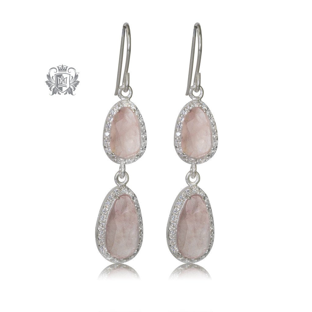 Rose Quartz Double Drop Sterling Silver Earrings