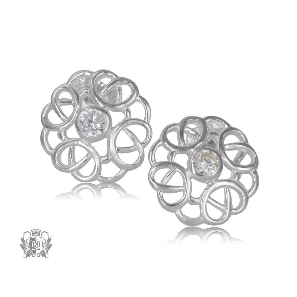 Celtic Knot Sterling Silver Earrings with Cubic Stones