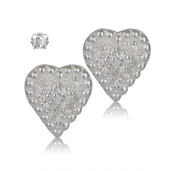 Pavé Heart Stud Earrings Sterling Silver - Front