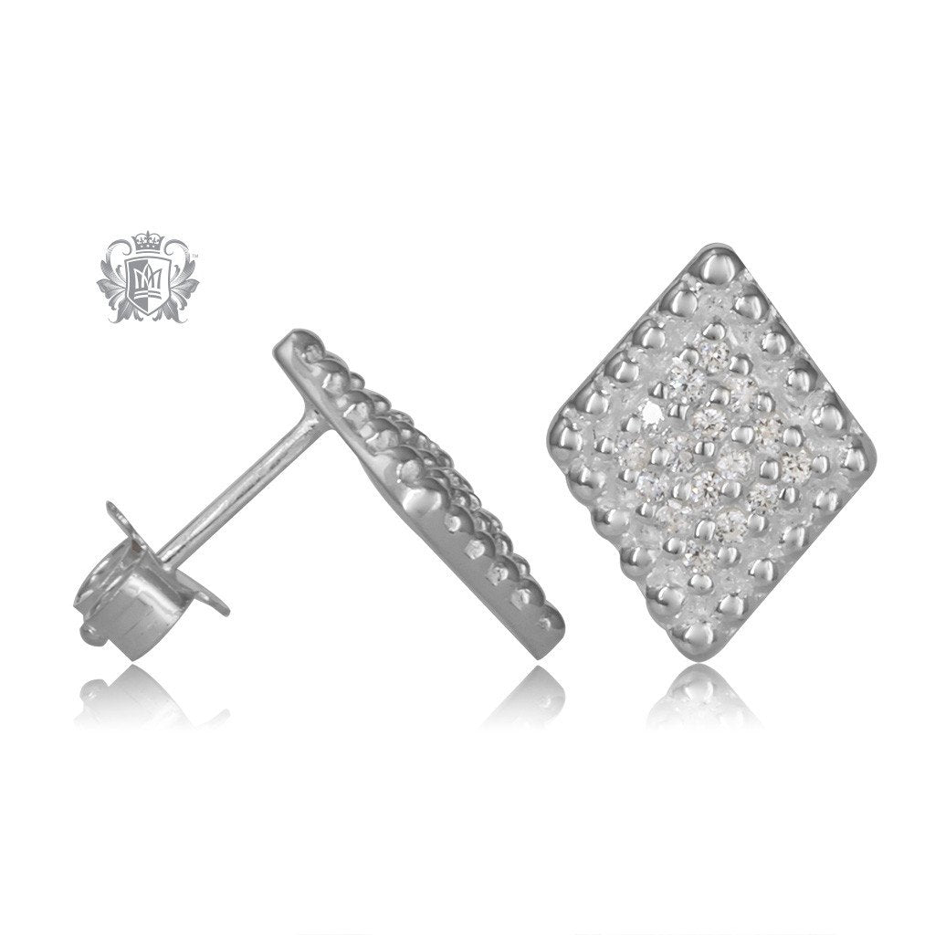 Diamond Shaped Sterling Silver Stud Earrings - Side