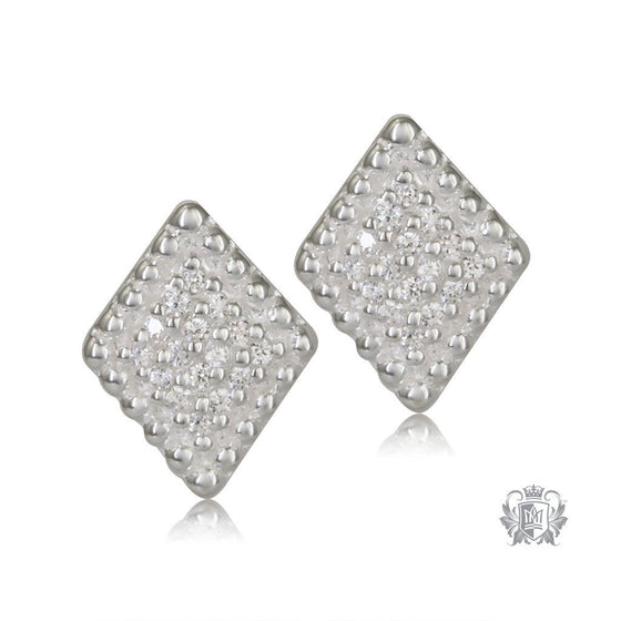 Diamond Shaped Sterling Silver Stud Earrings - Front