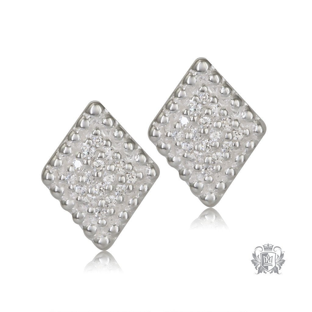 us shaped earrings pav diamond products silver front stud pave sterling metalsmiths