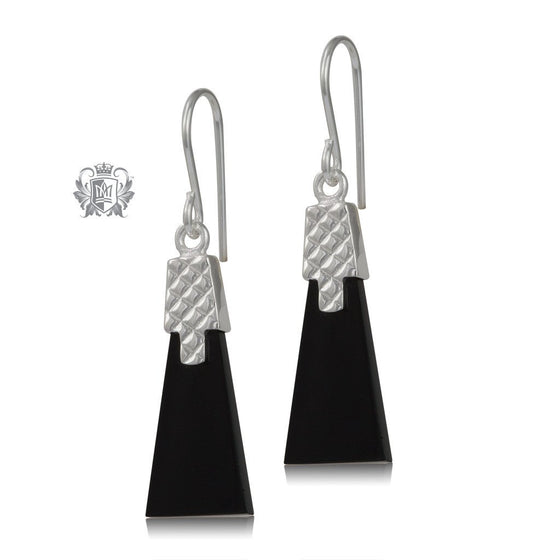 Black Onyx Deco Sterling Silver Earrings