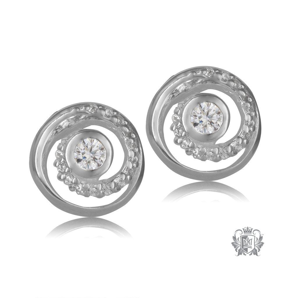 Metalsmiths Sterling Silver Dazzling Swirl Stud Earrings - front
