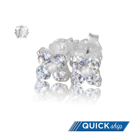 Small Cubic Cluster Stud Earrings Quick Ship