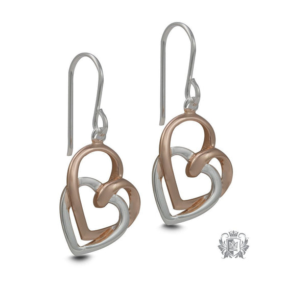 Hearts Embrace Hanger Earrings  - Silver Rose Gold
