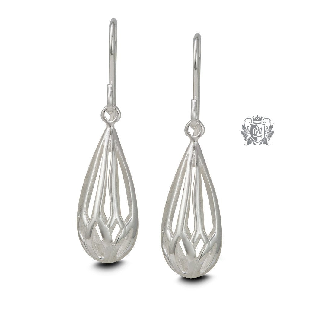 Sterling Silver Openwork Drop Hanger Earrings