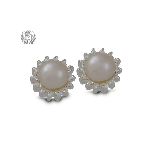 Halo Freshwater Pearl Studs - front
