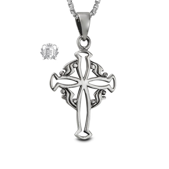 Scroll Cross Sterling Silver Pendant