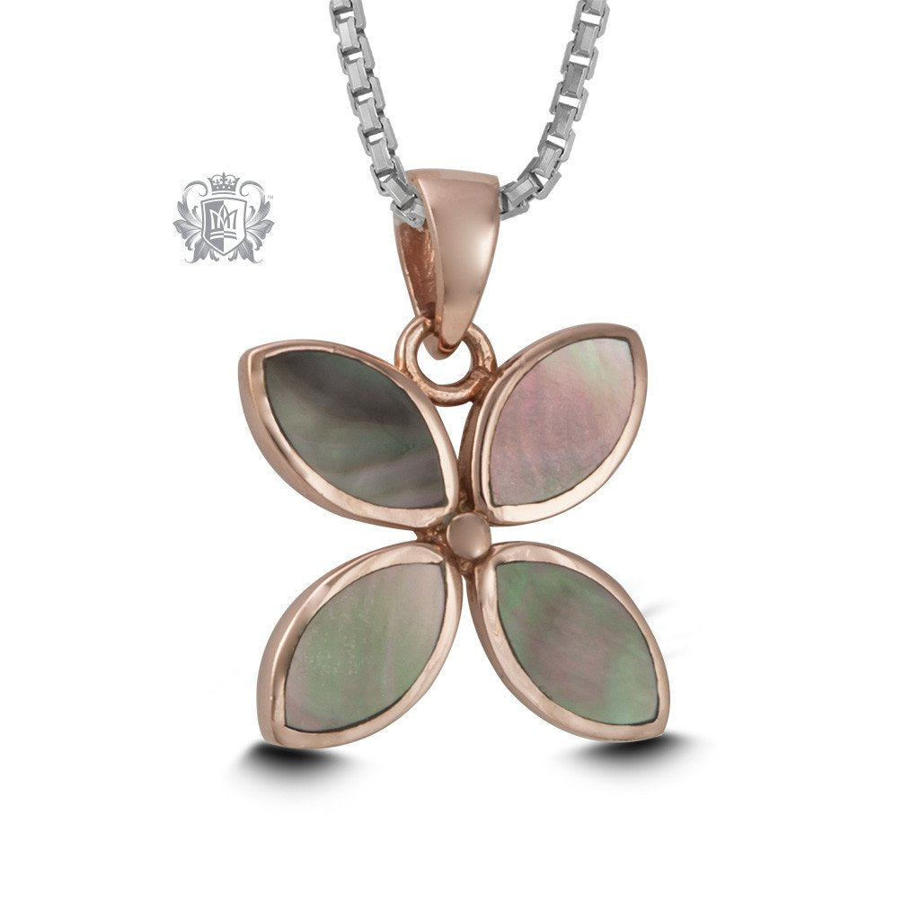 Rose Gold Dipped Mother of Pearl Flower Necklace