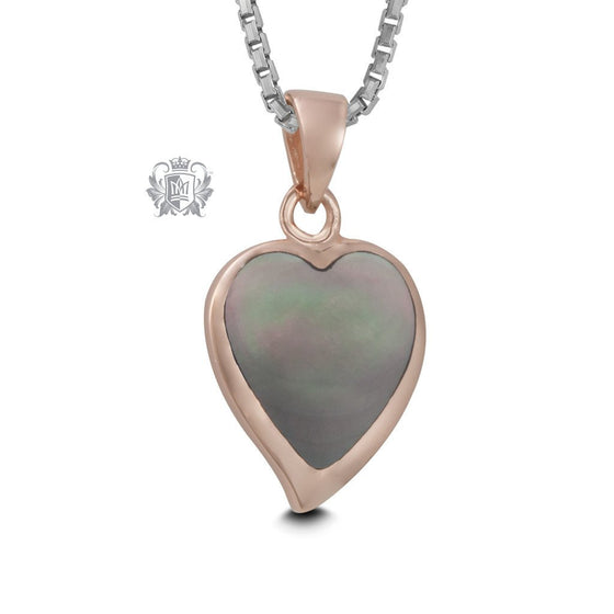 Rose Gold Dipped Mother of Pearl Heart Pendant