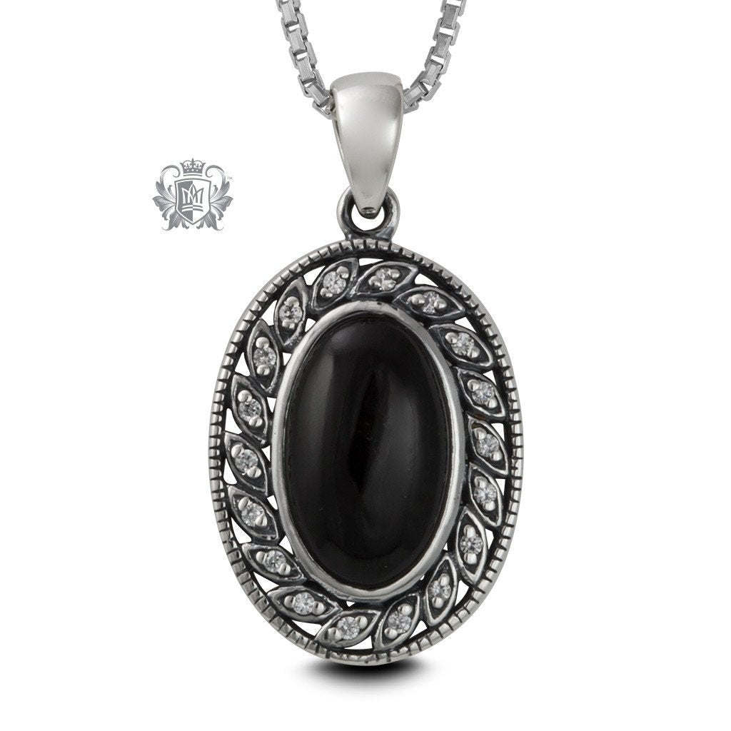 Leafy Black Onyx Sterling Silver Pendant