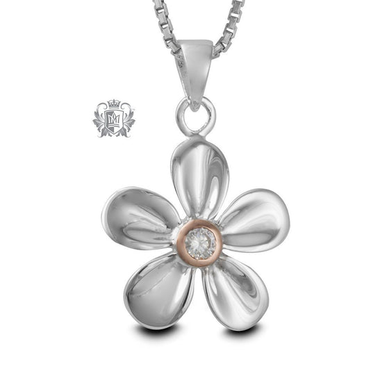Dazzling Daisy Pendant with Rose Gold Dipped Accent