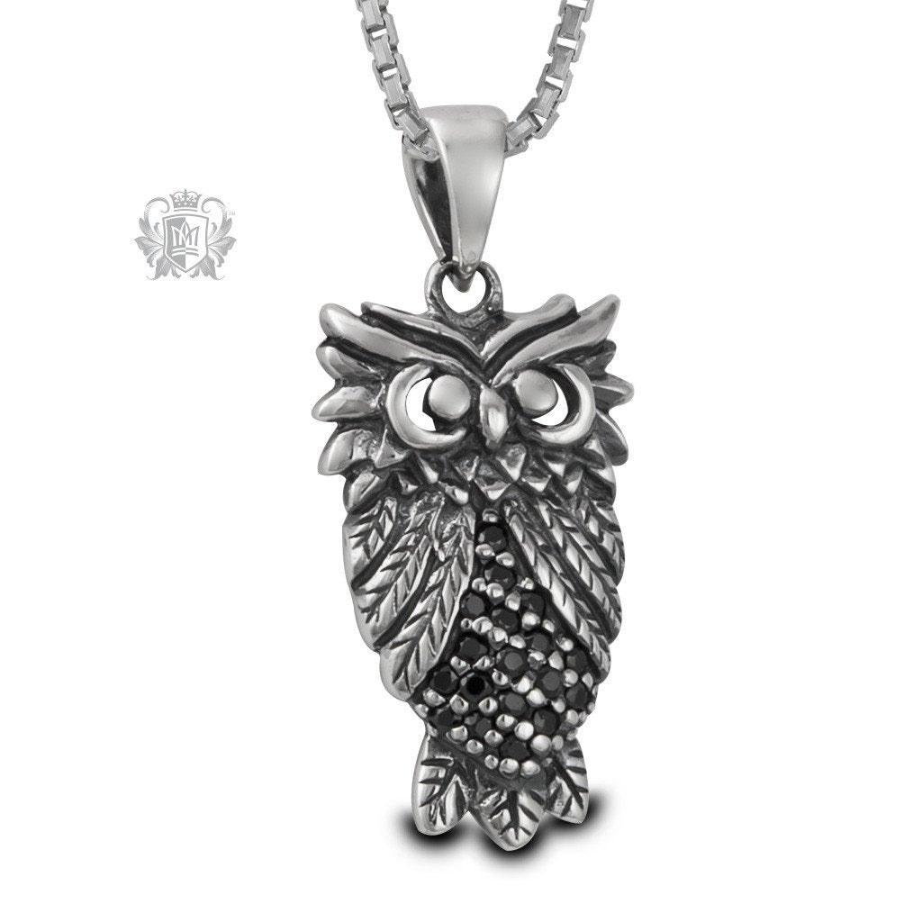Marcasite owl pendant metalsmiths sterling us marcasite sterling silver owl pendant mozeypictures Image collections