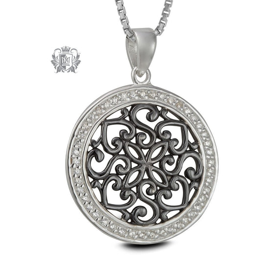 Oxidized Medallion Sterling Silver Necklace