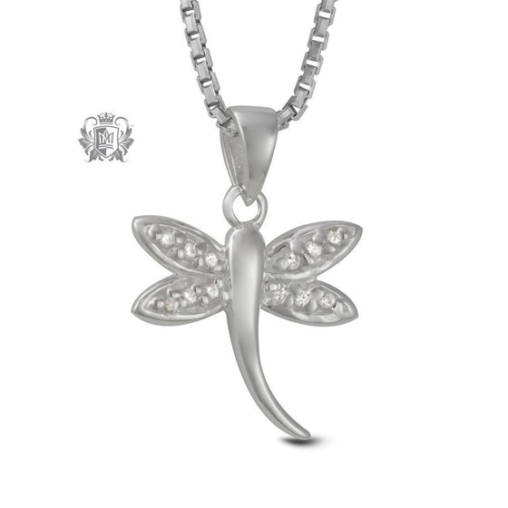 Sparkling Dragonfly Sterling Silver Necklace