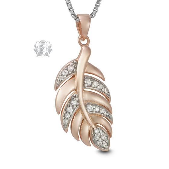 Rose Gold Dipped Cubic Leaf Pendant