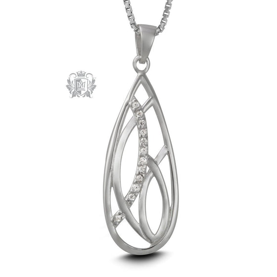 Deco Teardrop Sterling Silver Pendant Necklace